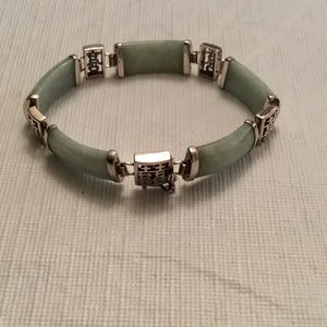 """Jewelry - VINTAGE Jade Jadeite Sterling Link Bracelet-7 1/4"""""""
